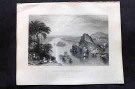Fisher (Pub) 1844 Antique Print. Scene at Colgong on the Ganges, India